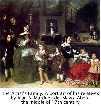 The Artist's Family. Oil on canvas by Juan Bautista Mart�nez del Mazo (c. 1612-1667). Art History Museum (Viena). Click here to enlarge the information about the family (in Spanish)