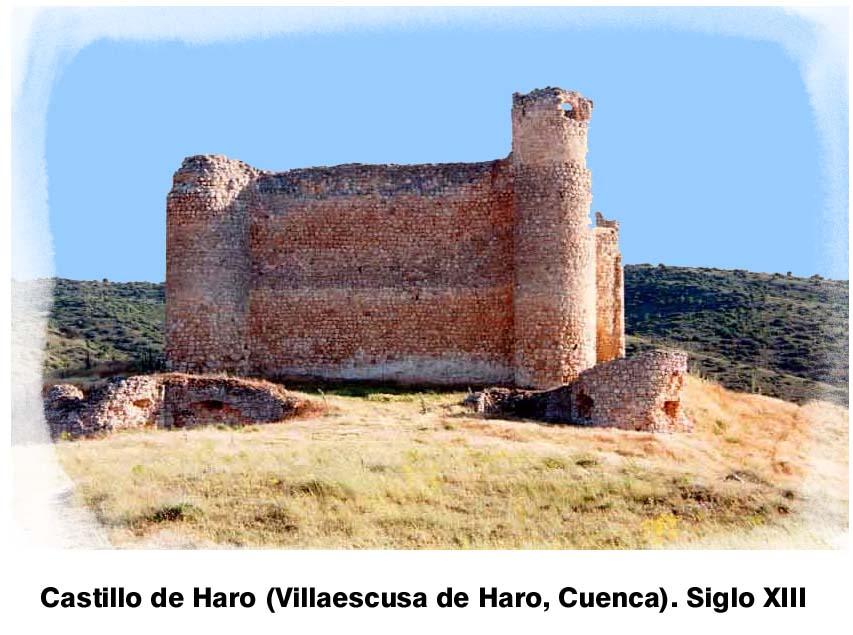 En el término de Villaescusa de Haro (Cuenca) se alzan los sólidos muros del castillo de Haro, cuya antigua población adyacente debió de dar origen a muchos linajes del apellido De Haro