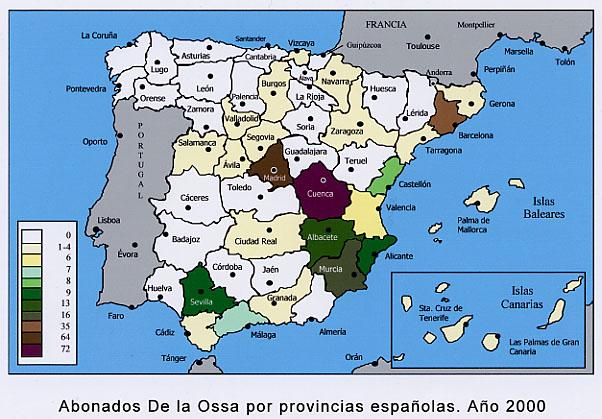 Distribuci�n por provincias espa�olas de los abonados de tel�fono De la Ossa (de primer y segundo apellidos). A�o 2000.