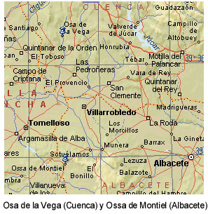 Osa de la Vega (Cuenca) y Ossa de Montiel (Albacete). Apenas 77 km separan ambas poblaciones.